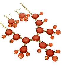 "17"" Pearlized Peach Stone Necklace and Earring Set #JS5424-GPE"