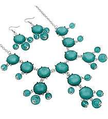 "17"" Pearlized Aqua Stone Necklace and Earring Set #JS5424-SAQ"