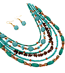 "16"" Turquoise and Brown Beaded Multi-Strand Necklace and Earring Set #JS5648-TQ"