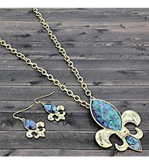 "17"" Abalone and Goldtone Fleur De Lis Necklace and Earring Set #JS6074-GABA"