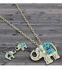 "17"" Abalone and Goldtone Elephant Necklace and Earring Set #JS6075-AGABA"