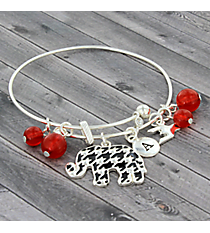 Silver Houndstooth Elephant Wire Bangle #JTB0189S
