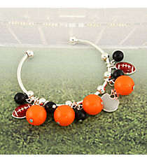 Orange and Black Football Theme Cuff Bracelet #JTB0198-SORBK