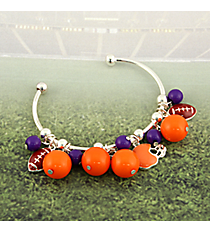 Purple and Orange Football Theme Cuff Bracelet #JTB0198-SORPU