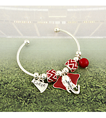 Crimson Cheer Theme Cuff Bracelet #JTB0202-SWI
