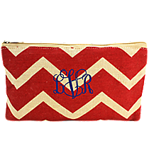 Red and Natural Chevron Juco Cosmetic Bag #35773