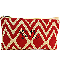 Red and Natural Cailyn Juco Cosmetic Bag #35787