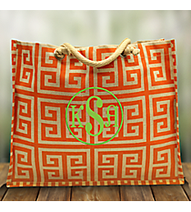 Orange and Natural Greek Key Classic Juco Tote #35757