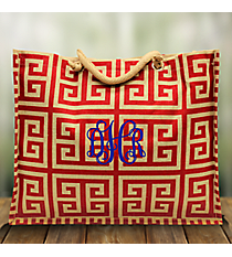 Red and Natural Greek Key Classic Juco Tote #35758
