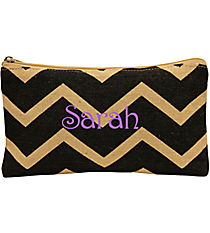 Black and Natural Chevron Juco Cosmetic Bag #35769