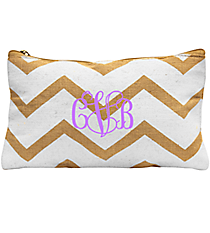 White and Natural Chevron Juco Cosmetic Bag #35770