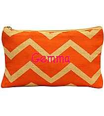 Orange and Natural Chevron Juco Cosmetic Bag #35772