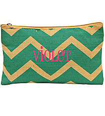 Teal and Natural Chevron Juco Cosmetic Bag #35774