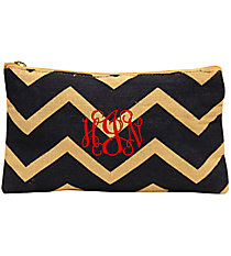 Navy and Natural Chevron Juco Cosmetic Bag #35775