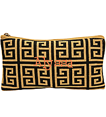 Black and Natural Geometric Juco Cosmetic Bag #35777