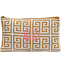 White and Natural Greek Key Juco Cosmetic Bag #35778