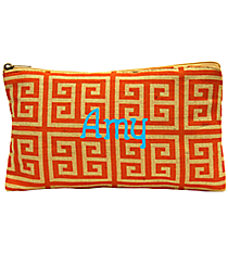Orange and Natural Greek Key Juco Cosmetic Bag #35780