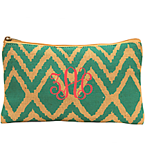 Teal and Natural Cailyn Juco Cosmetic Bag #35788