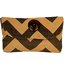 Gray and Natural Chevron Jute Clutch #34273
