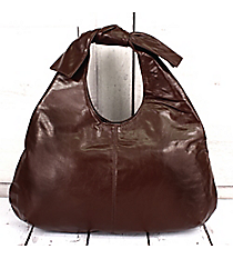 Brown Faux Leather Bow Handle Handbag #K16930-BRW