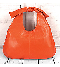 Orange Faux Leather Bow Handle Handbag #K16930-ORA