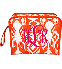 Orange Ikat Kathmandu Head Shot Cosmetic Bag #KA-HS-000438