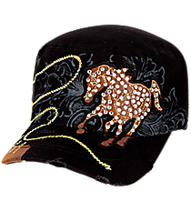 Crystal Horse Distressed Black Cadet Cap #KBV-919-BLK