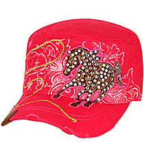 Crystal Horse Distressed Hot Pink Cadet Cap #KBV-919-HPK