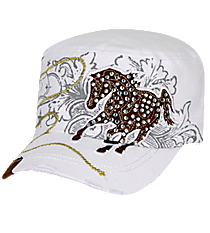 Crystal Horse Distressed White Cadet Cap #KBV-919-WHT