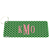 Green and White Quatrefoil Metal Keychain #KC-4313