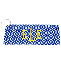 Blue and White Quatrefoil Metal Keychain #KC-4314