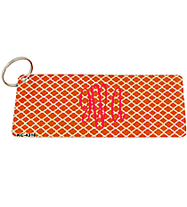 Orange and White Quatrefoil Metal Keychain #KC-4316