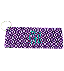 Purple and White Quatrefoil Metal Keychain #KC-4319