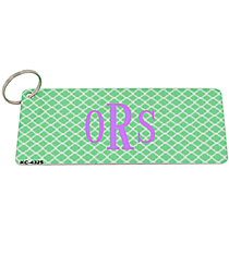 Mint and White Quatrefoil Metal Keychain #KC-4325