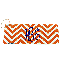 Orange and White Chevron Metal Keychain #KC-4472