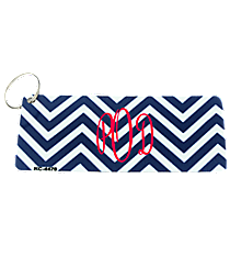 Blue and White Chevron Metal Keychain #KC-4470
