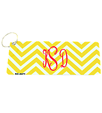 Yellow and White Chevron Metal Keychain #KC-4471