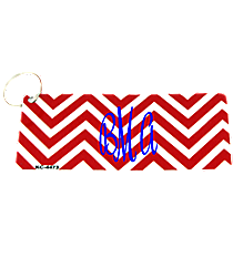 Crimson and White Chevron Metal Keychain #KC-4473