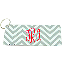 Grey and White Chevron Metal Keychain #KC-4474