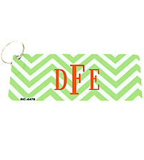 Lime Green and White Chevron Metal Keychain #KC-4478