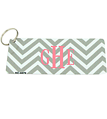 Taupe and White Chevron Metal Keychain #KC-4479
