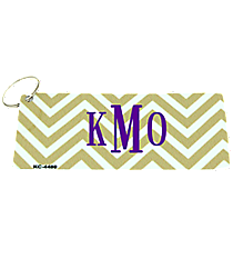 Gold and White Chevron Metal Keychain #KC-4480