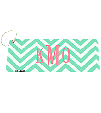 Mint and White Chevron Metal Keychain #KC-4481