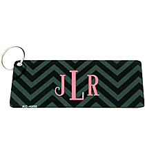 Black and Light Black Chevron Metal Keychain #KC-4950