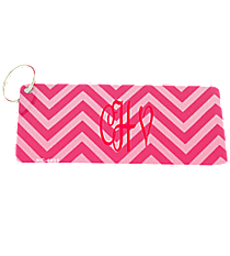Hot Pink and Pink Chevron Metal Keychain #KC-4951