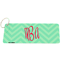 Green and Light Green Chevron Metal Keychain #KC-4964