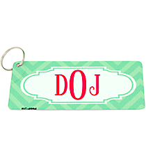 Green and Light Green Chevron Metal Keychain with Center Scalloped Oval #KC-4994