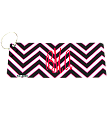Black, White, and Pink Chevron Metal Keychain #KC-4995