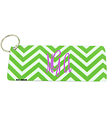 Kelly Green and White Chevron Metal Keychain #KC-5028