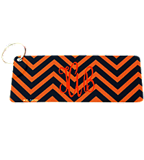 Orange and Navy Chevron Metal Keychain #KC-5030